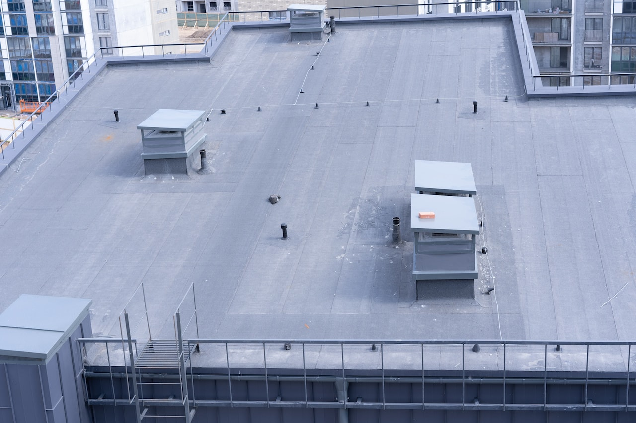 top view of built up warehouse roofing