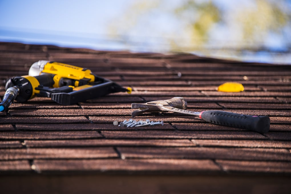 roofing tools on a roof