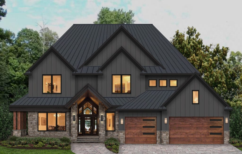 house with black painted siding